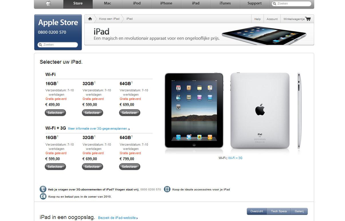iPad te bestellen op Apple.nl: Levertijd 7 dagen