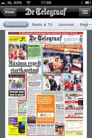De Telegraaf ook als krant in Appstore