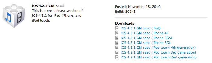 Apple komt met iOS 4.2.1 Gold Master