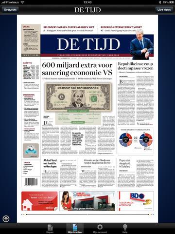 Belgische Krant De Tijd heeft eigen iPad app