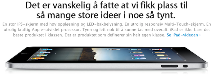 iPad vanaf morgen te koop in Scandinavie