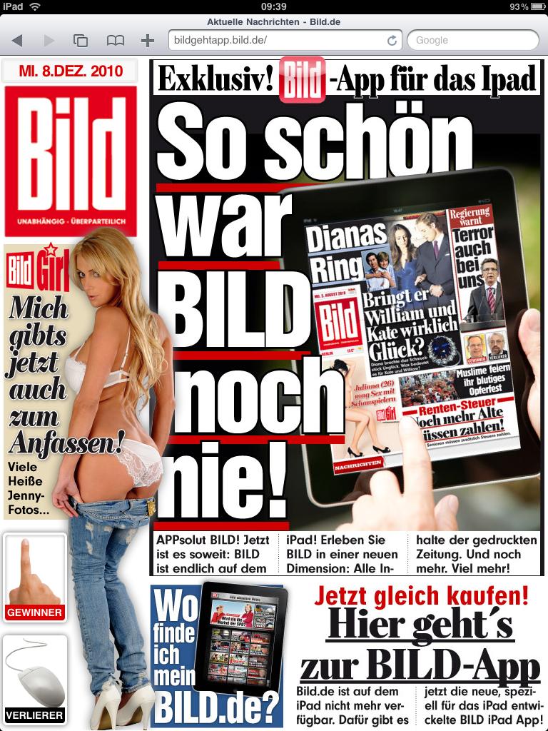 Duitse uitgever Bild.de blokkeert iPad gebruikers