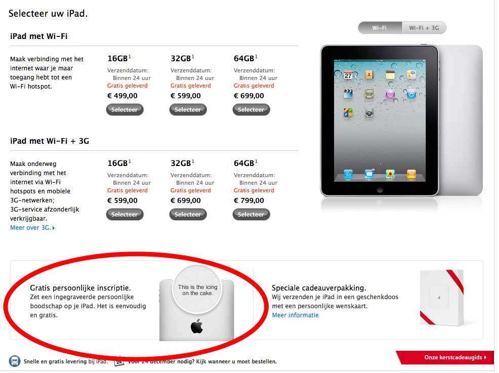 iPad inscriptie nu ook in NL Apple Store