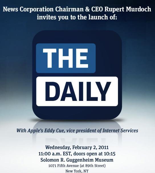 Het is definitief: The Daily verschijnt op 2 februari 2011