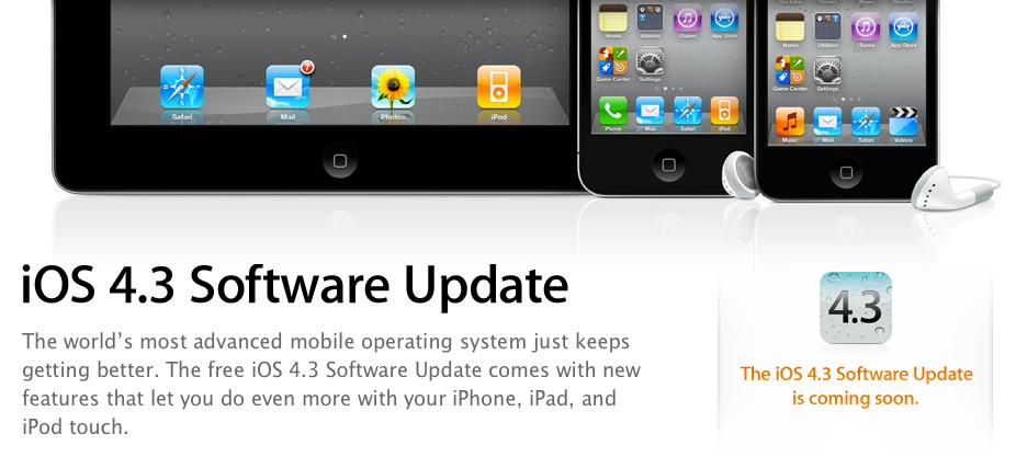 iOS 4.3 verschijnt op 11 maart