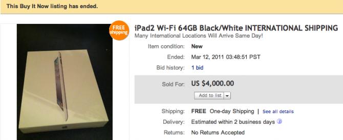 iPad 2 verkopen voor astronomische bedragen op Ebay