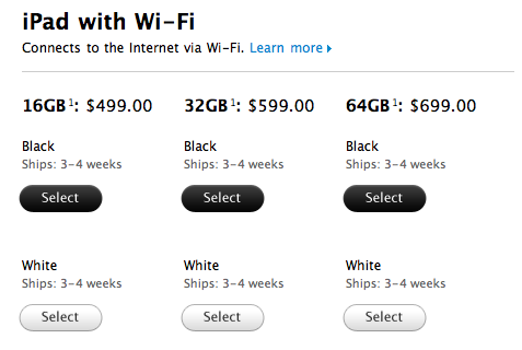 Levertijd iPad 2 in Amerika naar 4 weken
