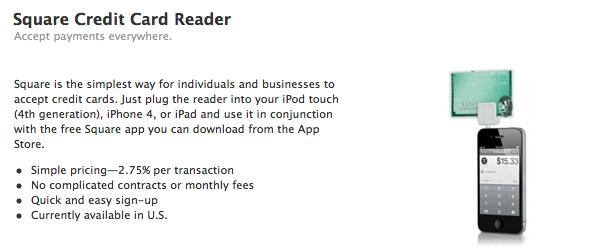 Square Credit Card nu te koop in Apple Online Store