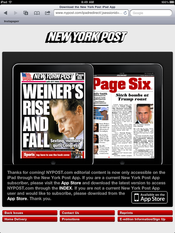 New York Post blokkeert Safari for iPad