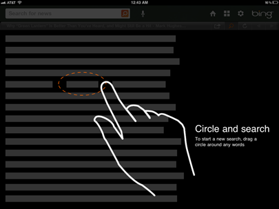 Bing voor iPad laat search beginnen met lasso