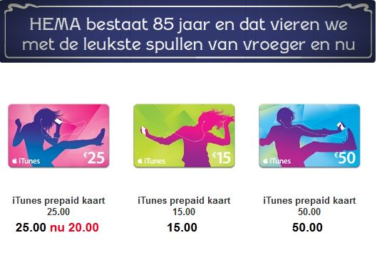 Korting op iTunes giftcards