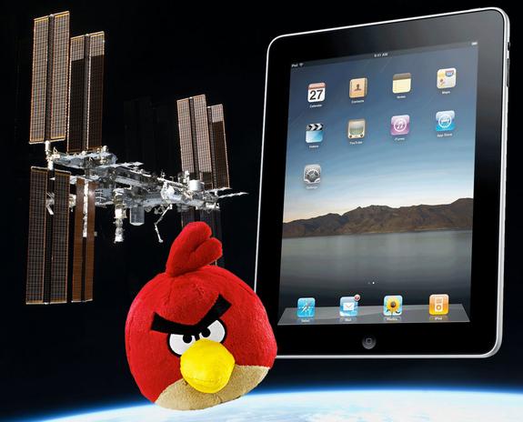 iPad en Angry Bird mee op ruimtemissie ISS