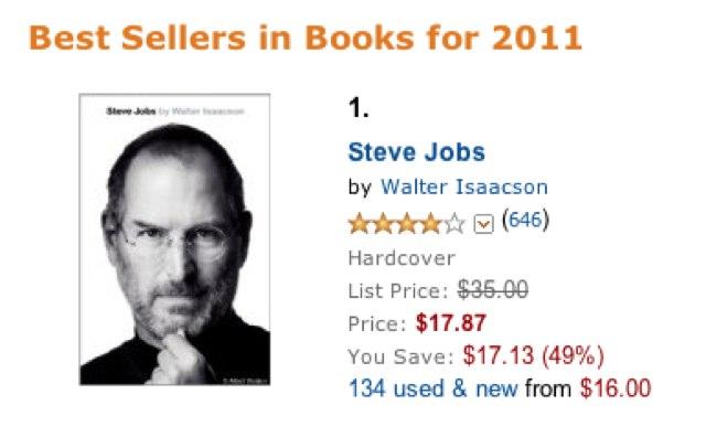 Biografie Steve Jobs Amazon's bestverkopende boek 2011