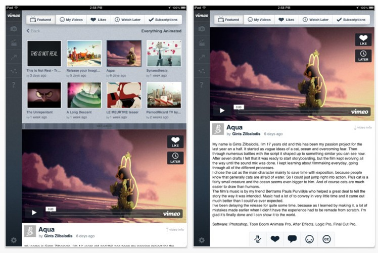 Vimeo video app nu geschikt voor iPad