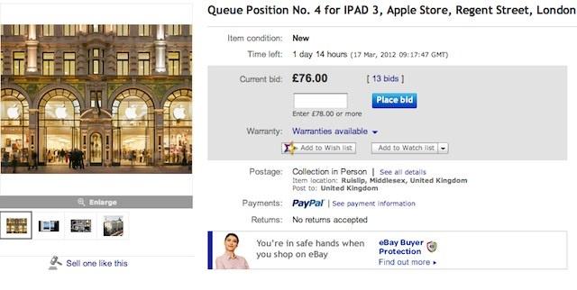 Plaats in rij Nieuwe iPad te koop op Ebay