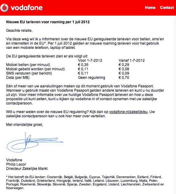 Nieuwe roaming (data) tarieven Vodafone bekend
