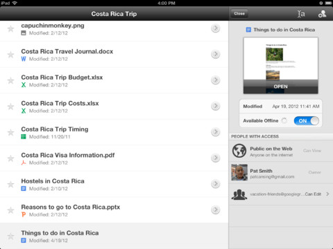 Google Drive voor iPad verschenen