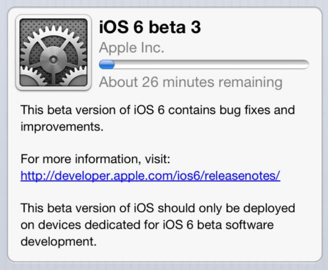 Apple geeft iOS 6 beta 3 vrij aan ontwikkelaars